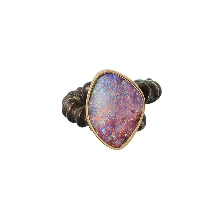 Katherine Jetter Han Dynasty opal ring in bronze and yellow gold, set with a unique Boulder opal.