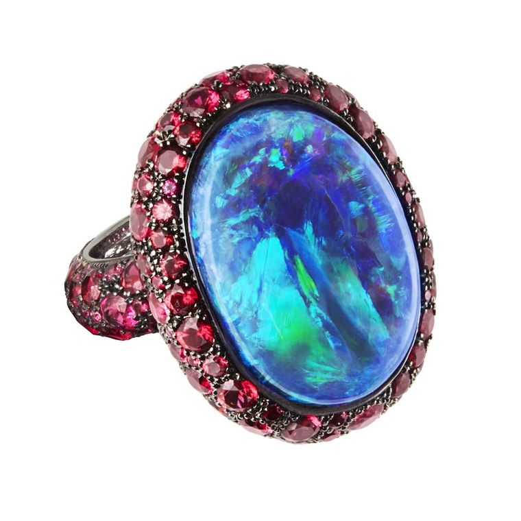 Katherine Jetter Scarlett opal ring set with a central Boulder opal.