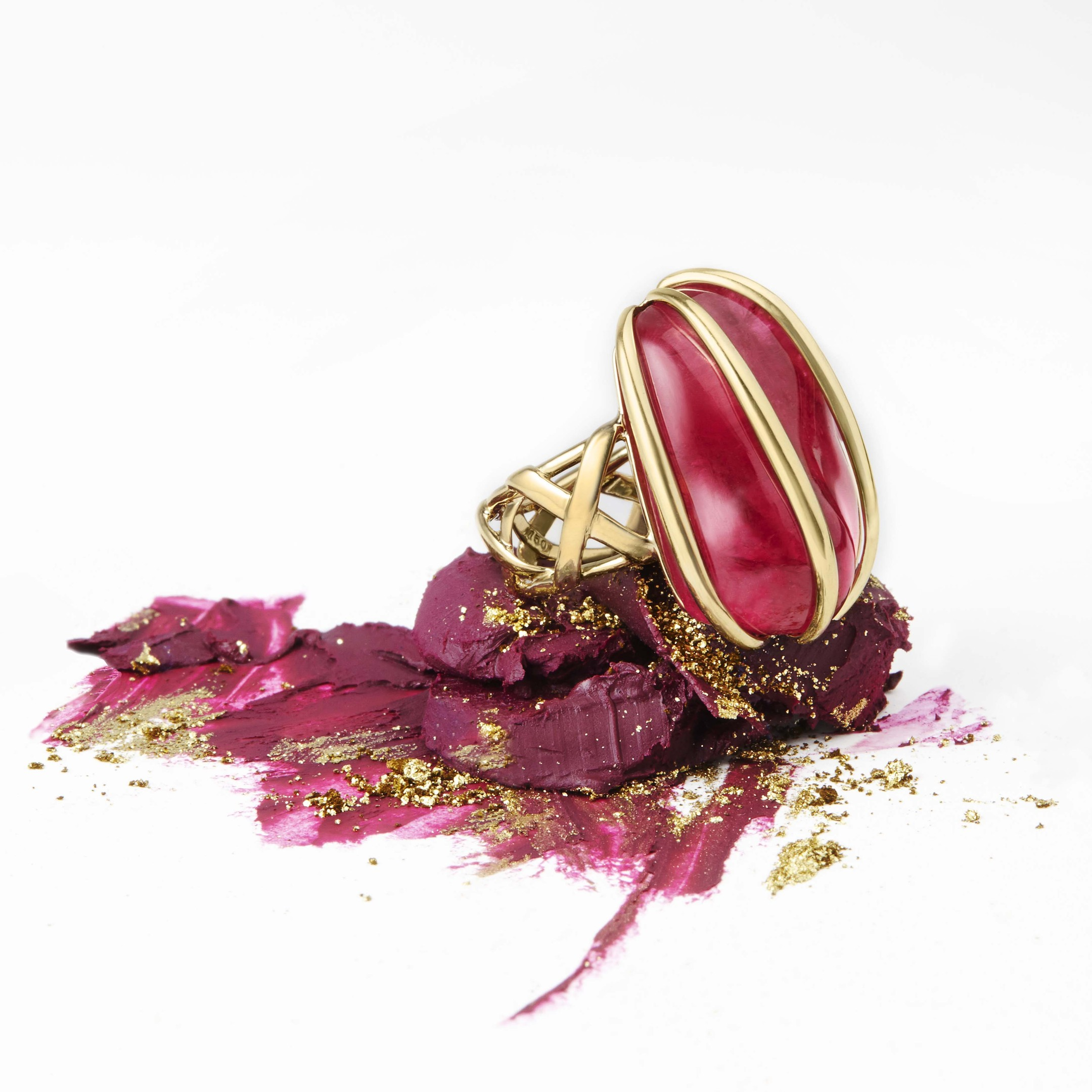 Rubellite cage ring.