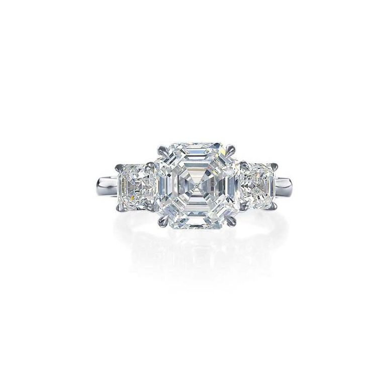 Royal Asscher cut diamond engagement ring in white gold.