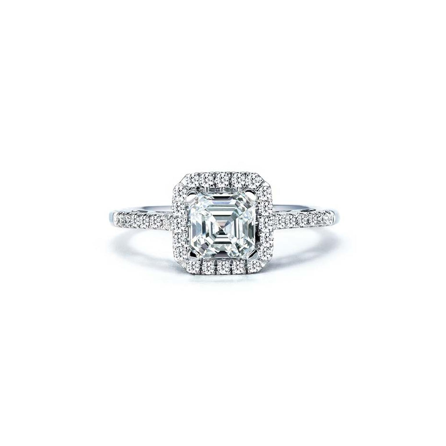Royal Asscher cut diamond engagement ring in white gold with a diamond halo surround. Also available in platinum and yellow gold.