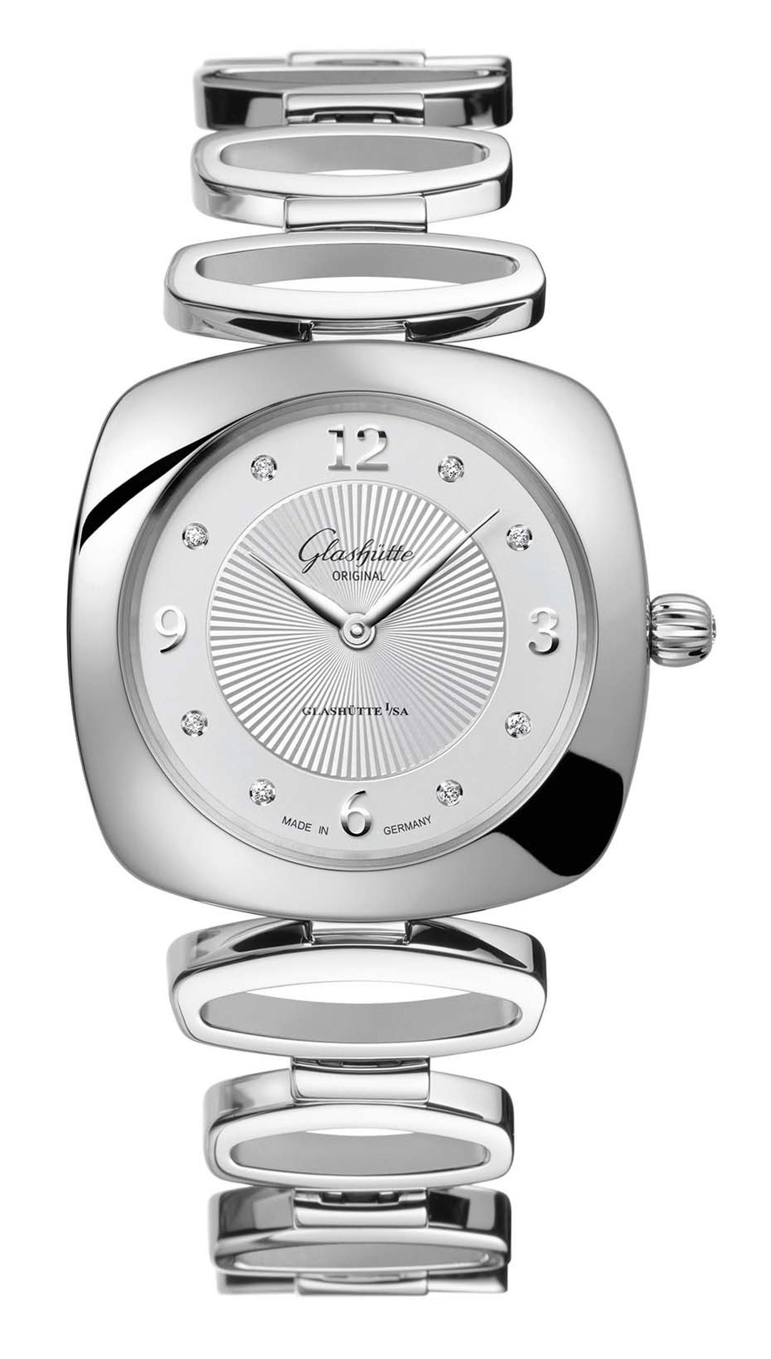 Glashütte Pavonina ladies' watch in stainless steel with a galvanized silver dial and eight diamonds on the dial. The open-linked steel bracelet has a nice 1970s groove but can be exchanged for a dressier satin strap.