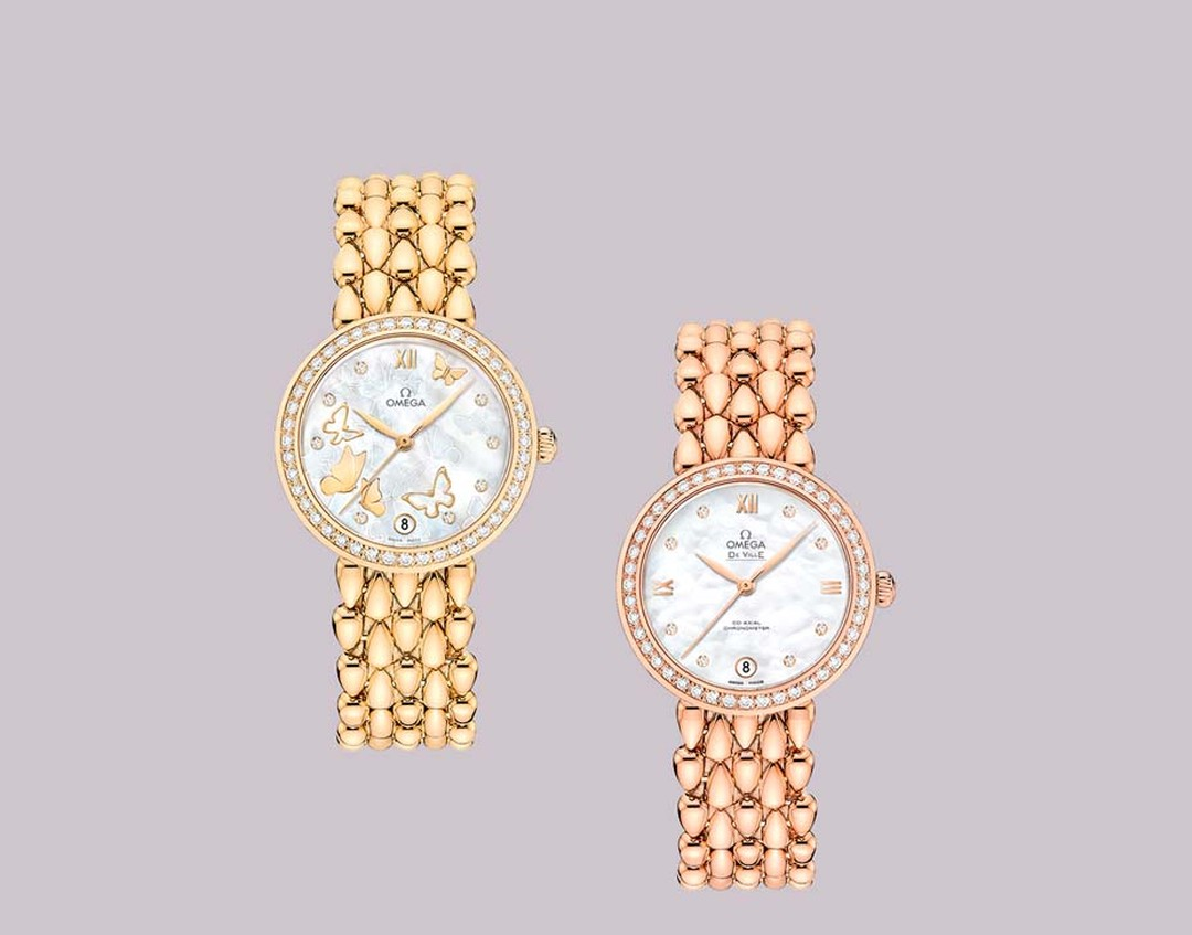 Omega watches De Ville Prestige collection welcomes the new Dewdrop watch with a glamorous rose or yellow gold bracelet shaped like dewdrop beads.