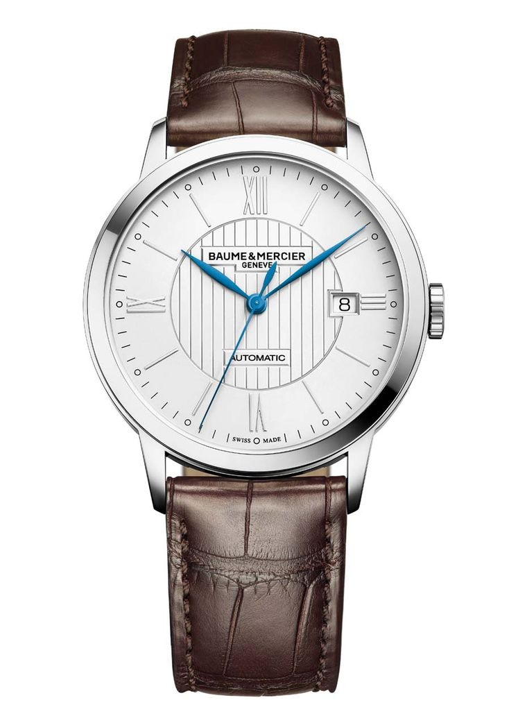Baume & Mercier Classima watch is a handsome contender for a graduation gift. The 40mm stainless steel case frames the smart opaline dial with central guilloché decor, Roman numerals and indices, central hour, minute and seconds hands and a date window at