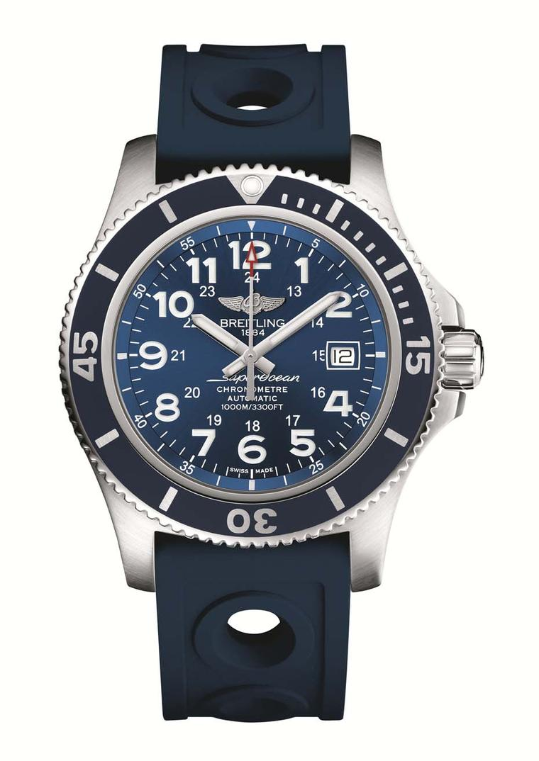 "Breitling Superocean II is billed as a ""superdiver model"" designed to accompany professional and recreational divers to depths of up to 1,000m. The 44mm brushed steel case features a cool blue rubber-molded bezel, luminescent hands and numerals and a rubb"