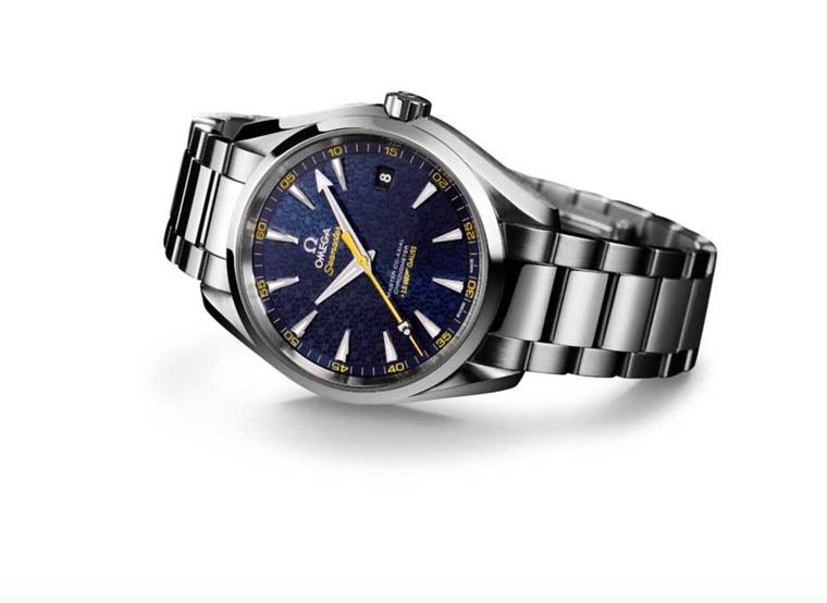 Ahead of the release of the new Spectre movie later this year, Omega watches has released the new Seamaster Aqua Terra 150M. Inspired by the Bond family coat of arms, which can be seen on the tip of the yellow central seconds hand, the blue textured dial