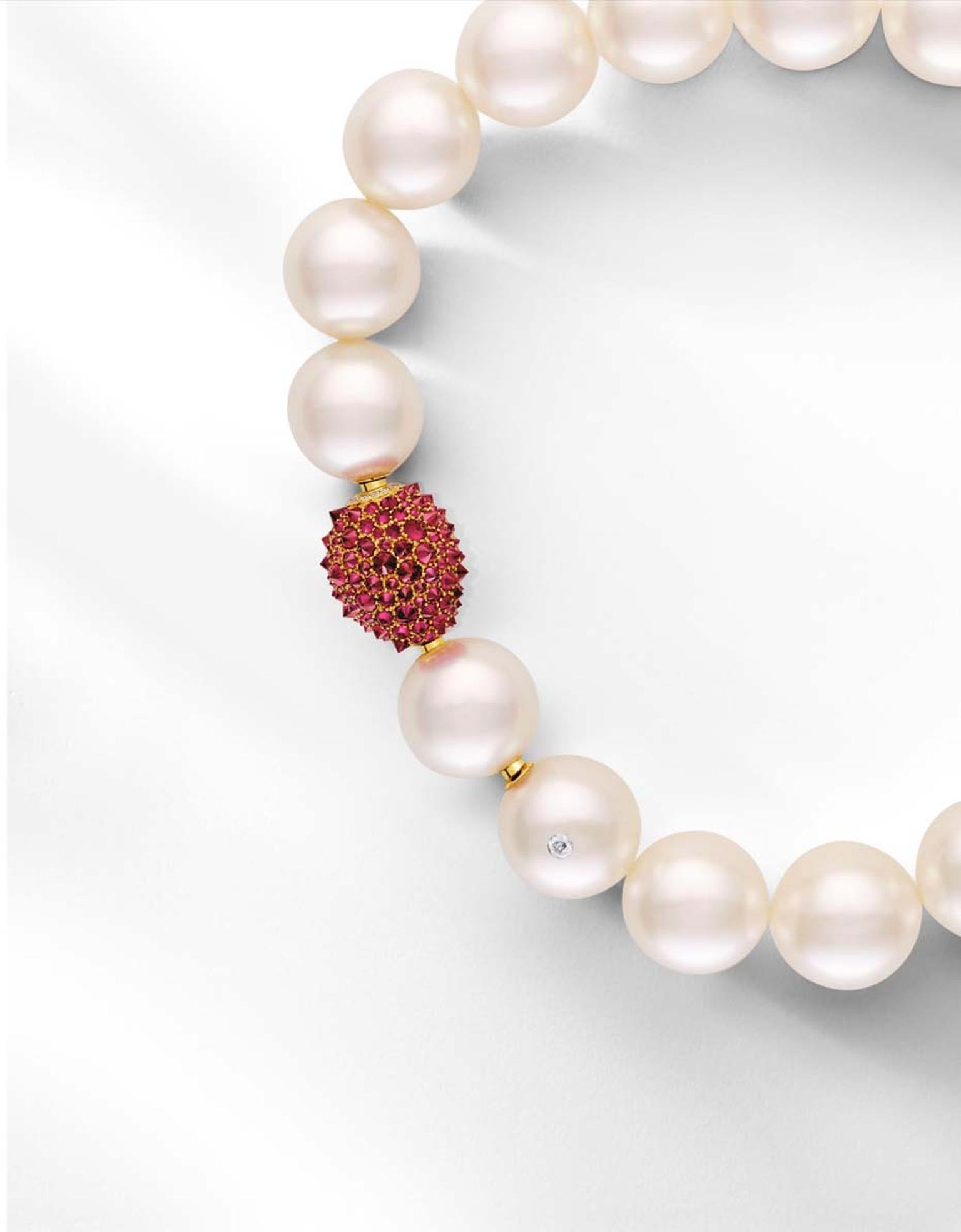 Paspaley Australian South Sea pearl strand and Touchstone clasp with rubies and white diamonds.