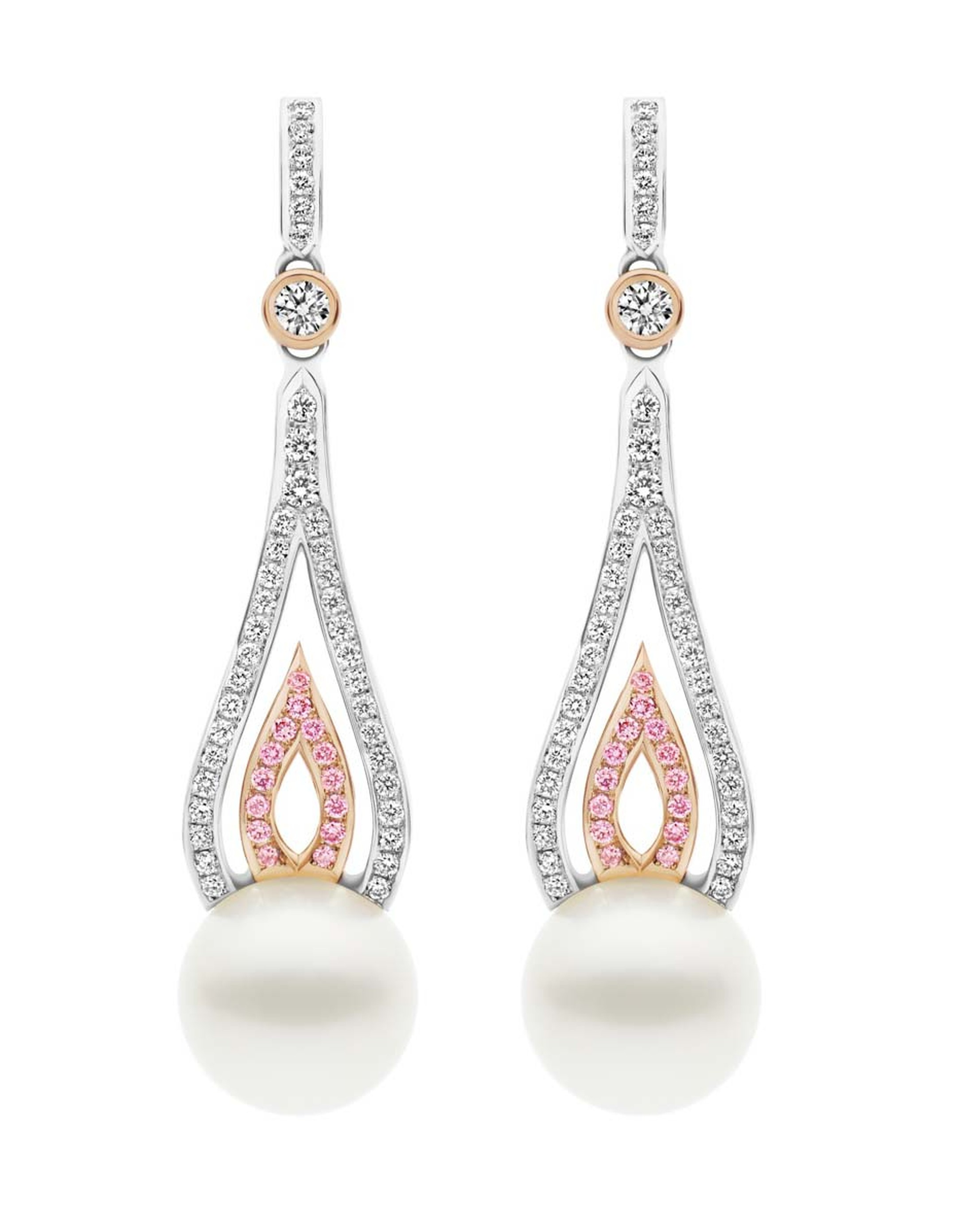 Kailis Flame pearl earrings in white and rose gold, set with pink and white pavé diamonds and two 12-13mm round Australian South Sea pearls.