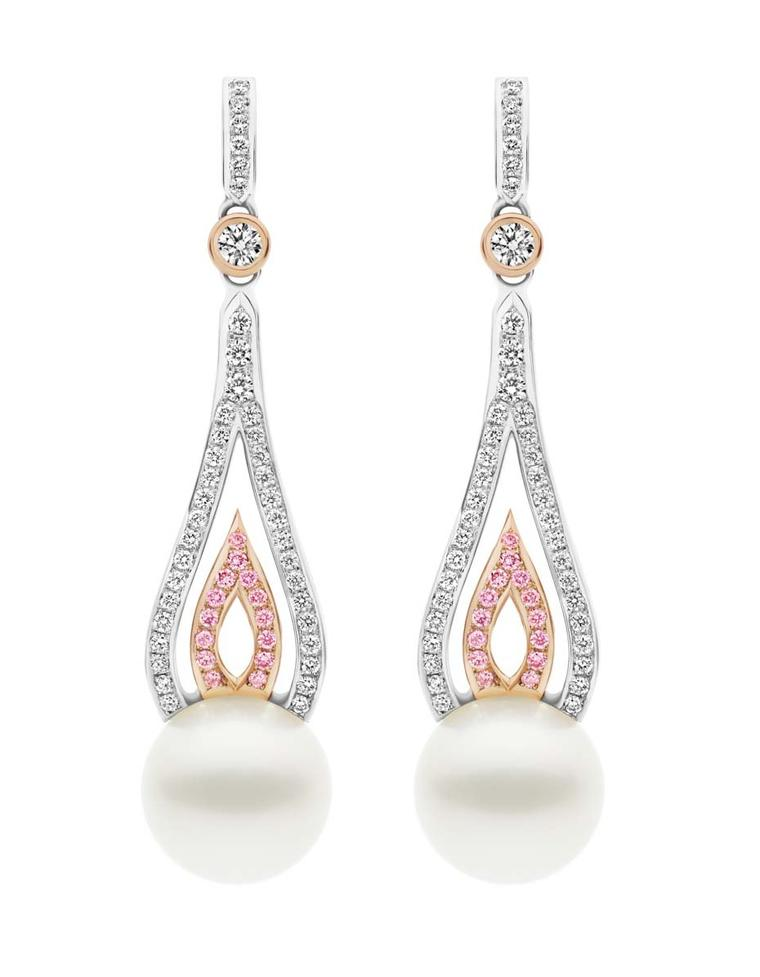 Flame South Sea pearl earrings with pink and white diamonds