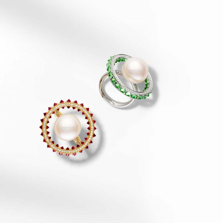 Paspaley Touchstone Australian South Sea pearl ring with rubies and white diamonds in yellow gold, and with tsavorites and white diamonds in white gold.