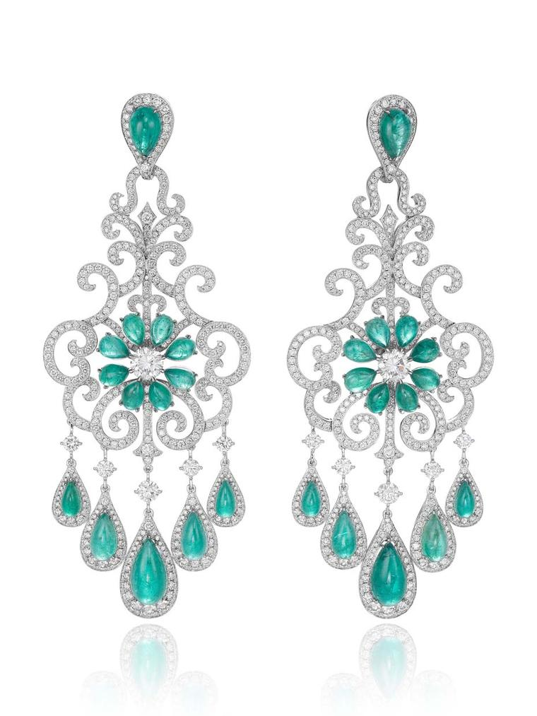 One-of-a-kind Chopard Paraiba tourmaline earrings with diamonds from the 2015 Red Carpet collection.