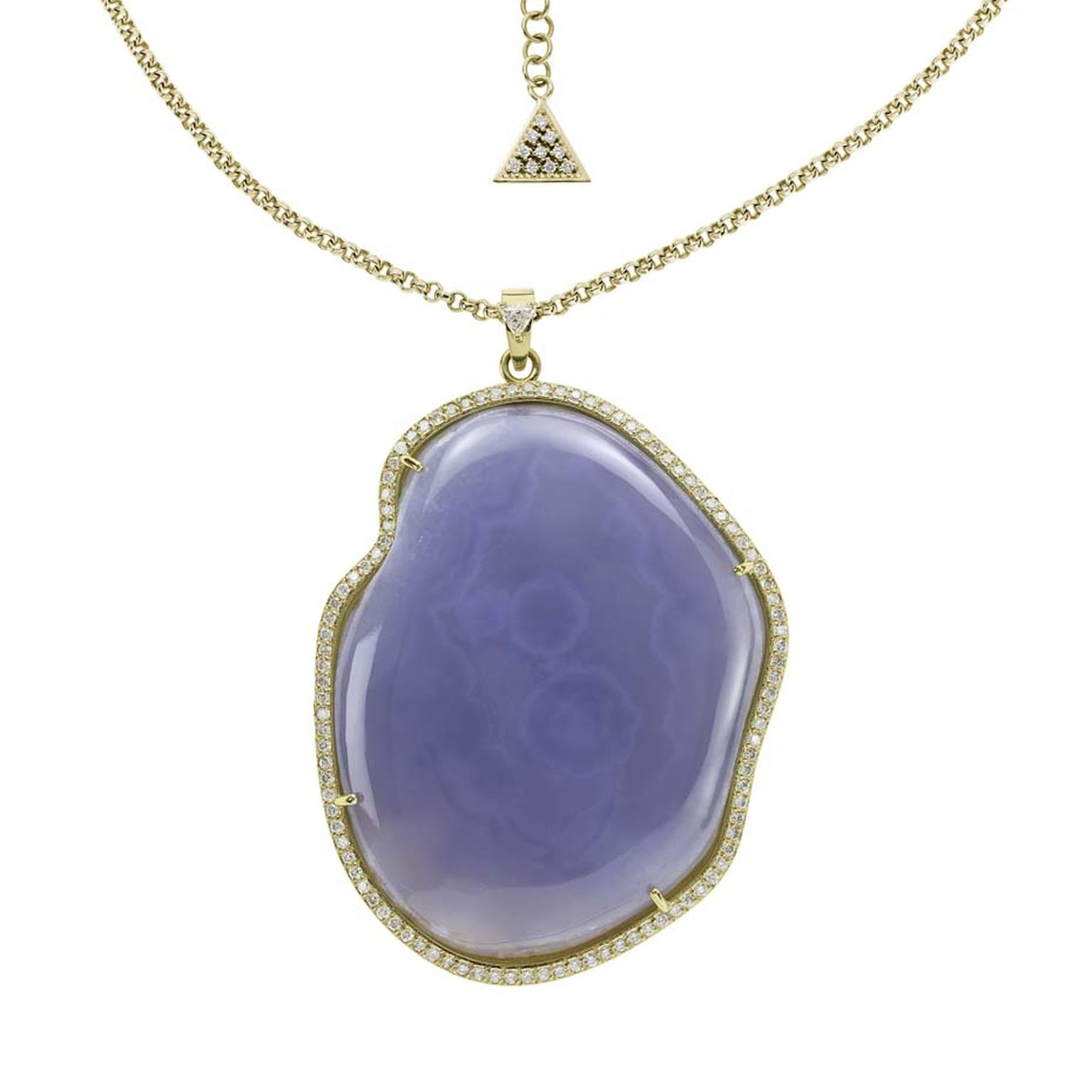 Misahara Adriana blue chalcedony necklace in gold and diamonds, from the Adriatic collection.