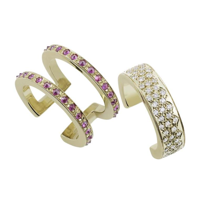 The Misahara Korali ring is a cuff designed for your finger, with two separate bands that can be worn together or apart. The outer band, made from yellow gold, is set with rubies, while the inner ring is pavé set with white diamonds.