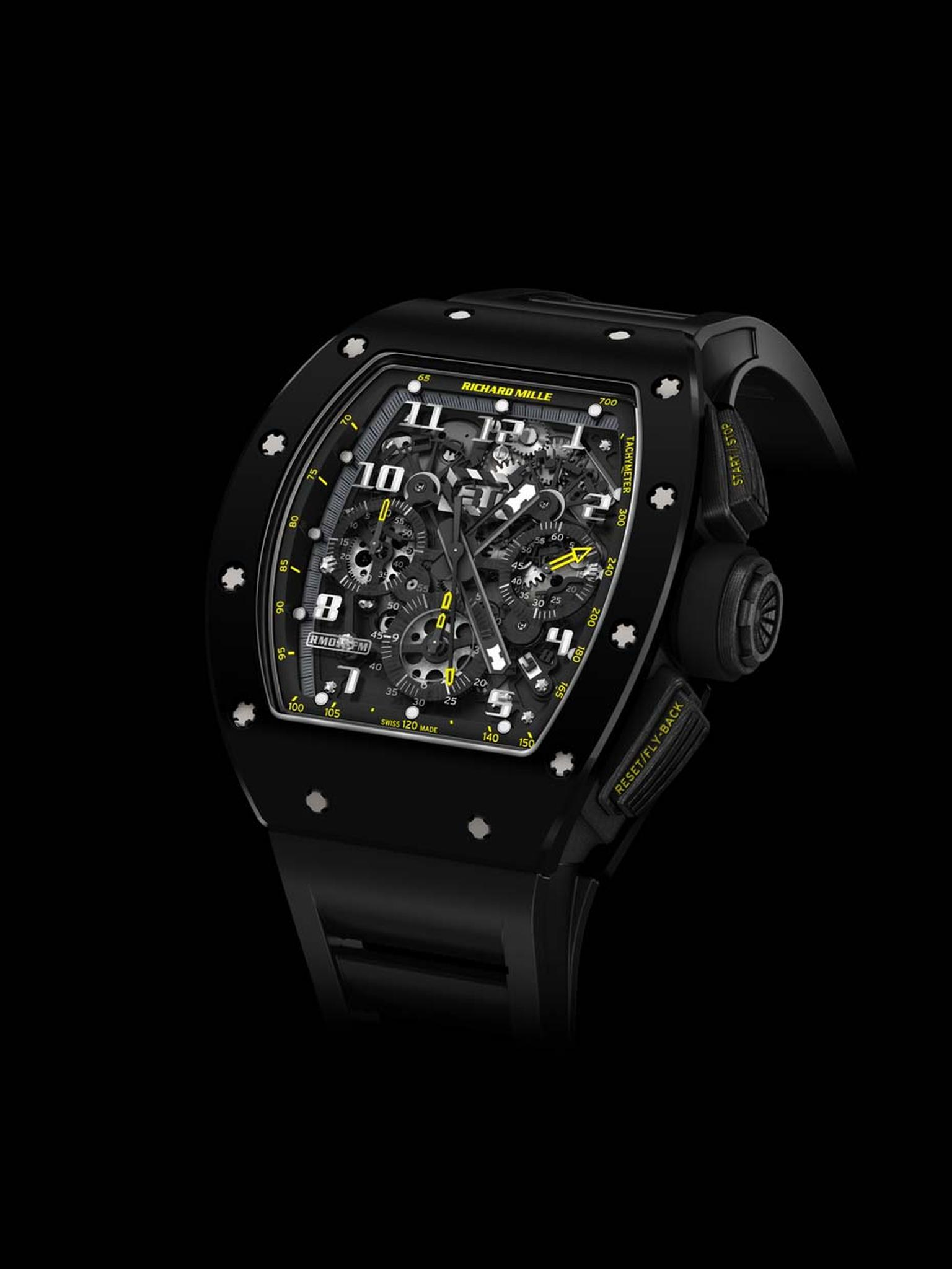 New to the Richard Mille watches stable is the RM 011 Yellow Flash Automatic Flyback Chronograph, the latest rendition of the iconic Felipe Massa watch and limited to just 50 pieces. Equipped with a sophisticated flyback chronograph movement and crafted f