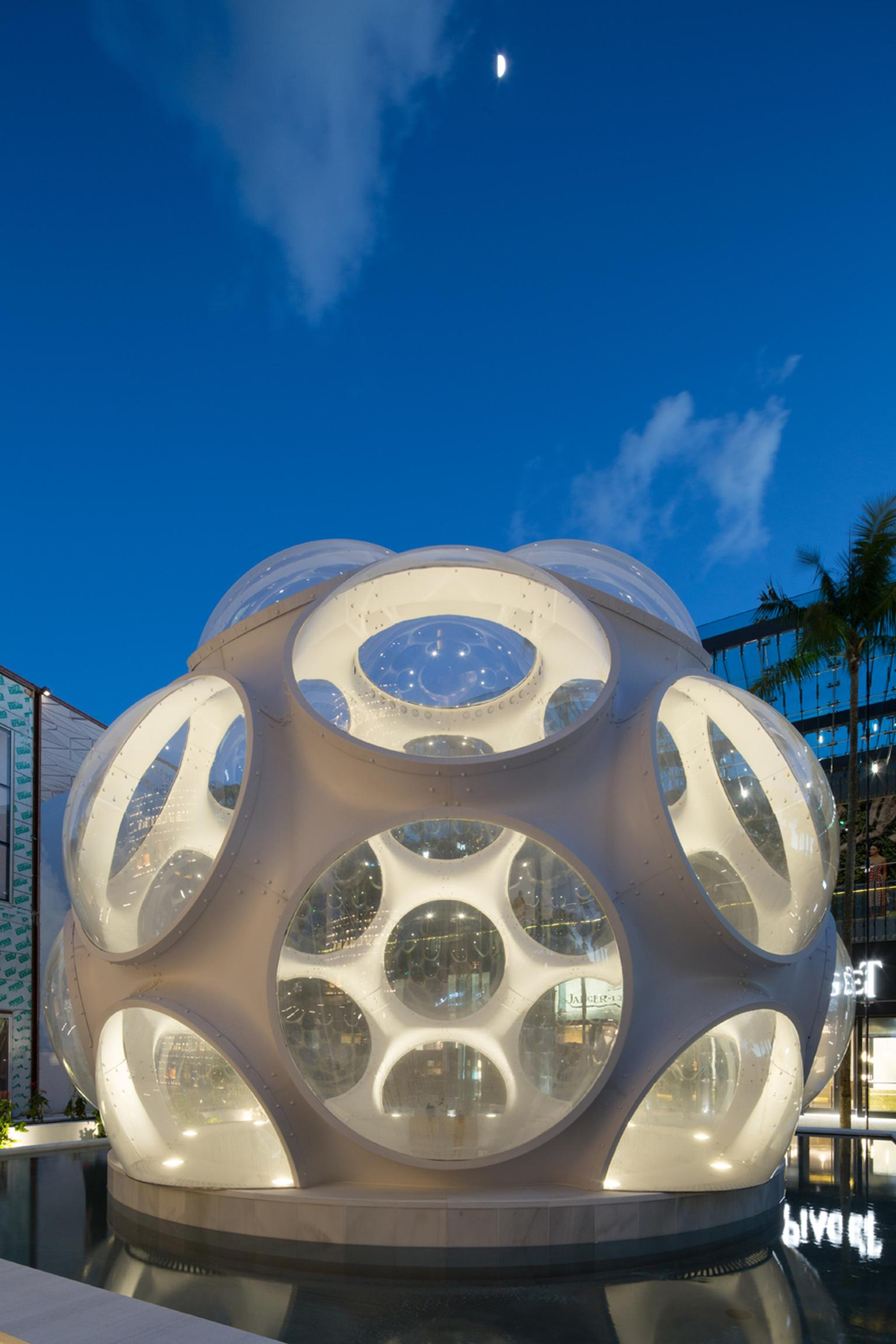Almost 50 years after Buckminster Fuller designed the Fly's Eye Dome, Craig Robins, the man behind the reinvention of the Miami Design District, acquired a 24ft prototype and, in 2012, he had it installed as a centerpiece of the district's re-design.