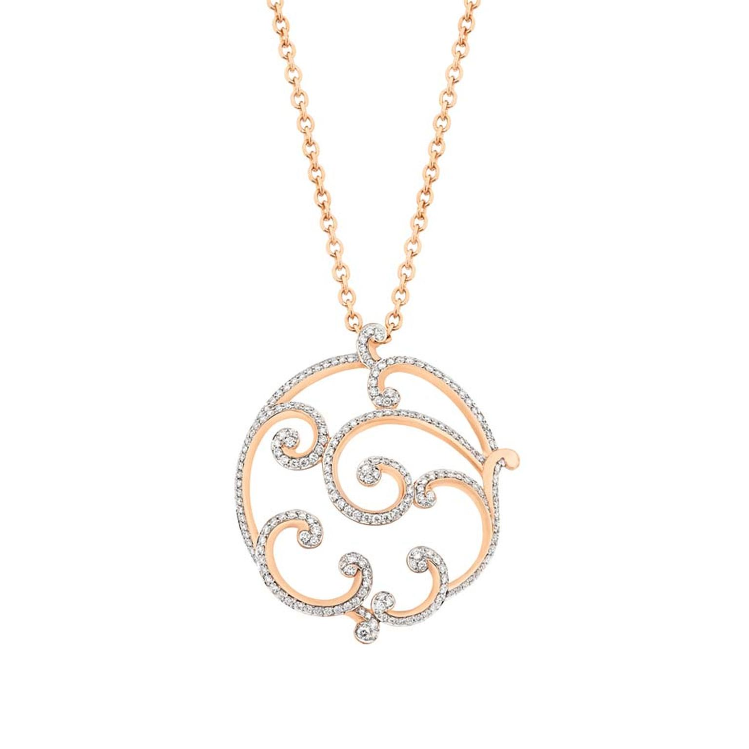 For everyday wear, the swirling curlicue scroll motif found in 18th century ornaments and furniture is interpreted in precious metals and colored gemstones in the Rococo collection. Airy and light open-work gold shapes are highlighted with diamonds or col