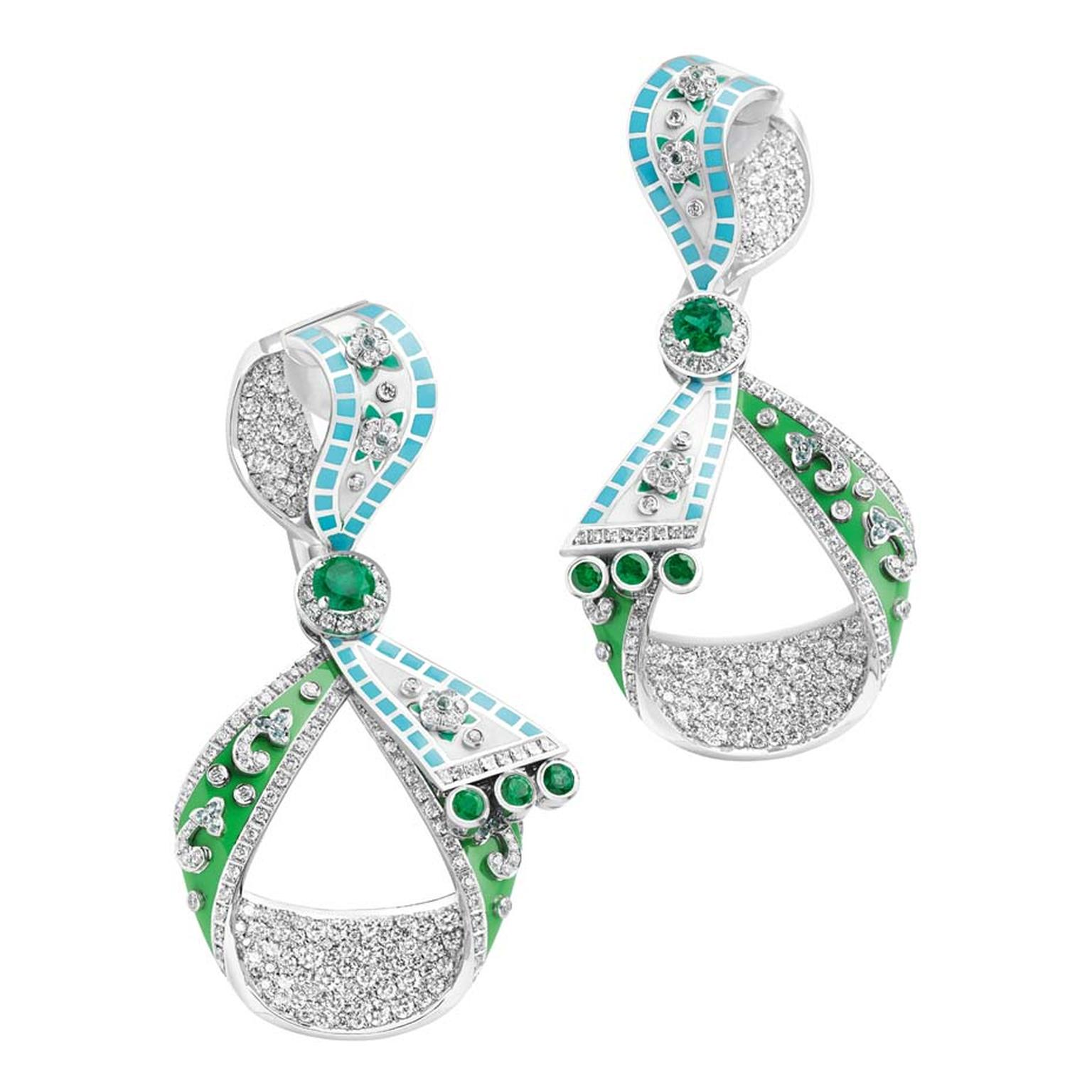 The Summer in Provence collection, which includes earrings and ornate bejeweled green and blue pendants, are statement pieces that sum up the brilliance of Fabergé's creativity.