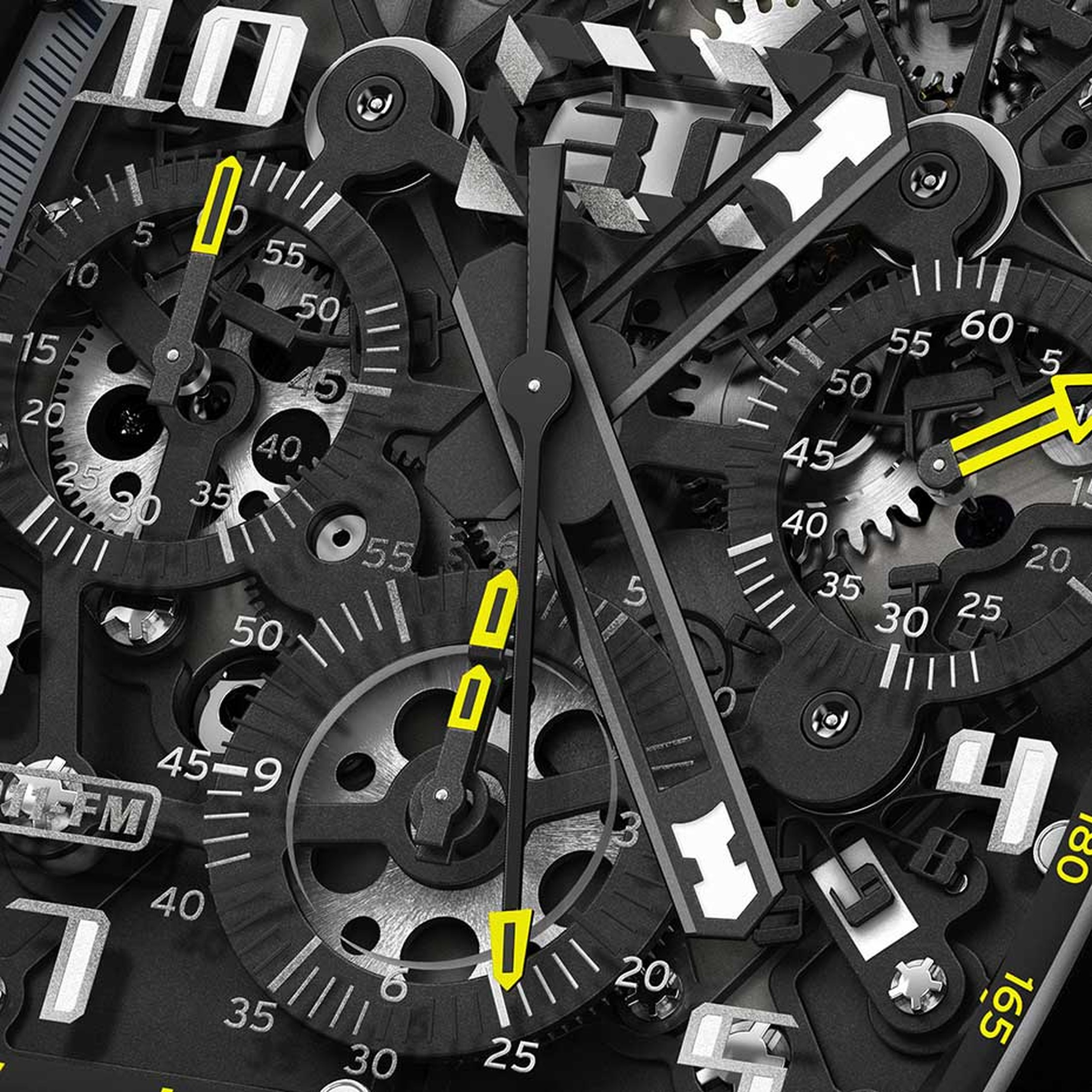 In keeping with the sleek, high-tech appeal of the new Richard Mille watches RM 011 Yellow Flash Automatic Flyback Chronograph, the skeletonised automatic movement has been blackened and features a rotor with variable geometry. A high-tech concoction of T