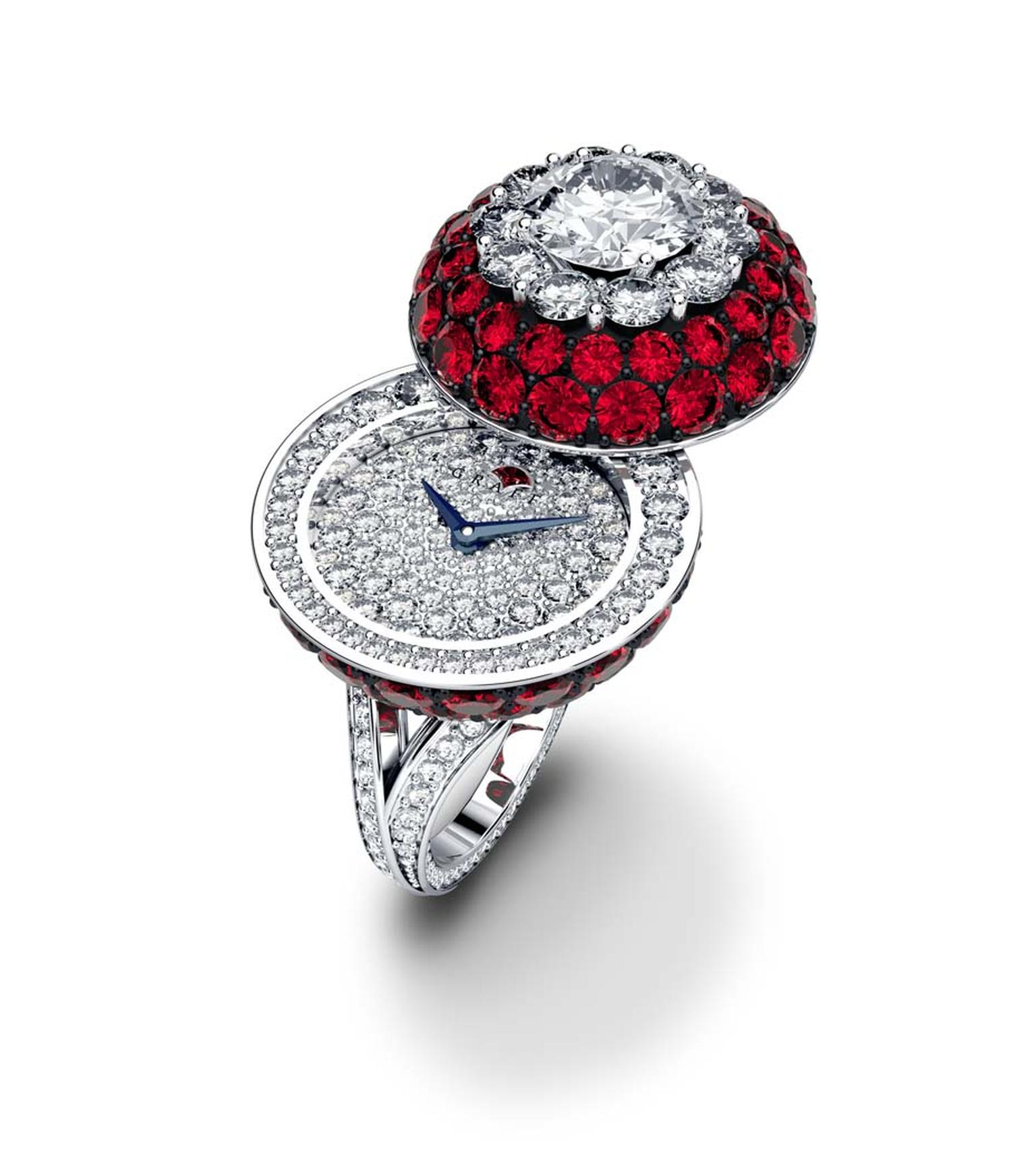 Graff Halo Secret Ring in white gold with rubies.