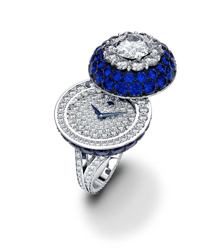 Graff Halo Secret Ring with sapphires and diamonds.