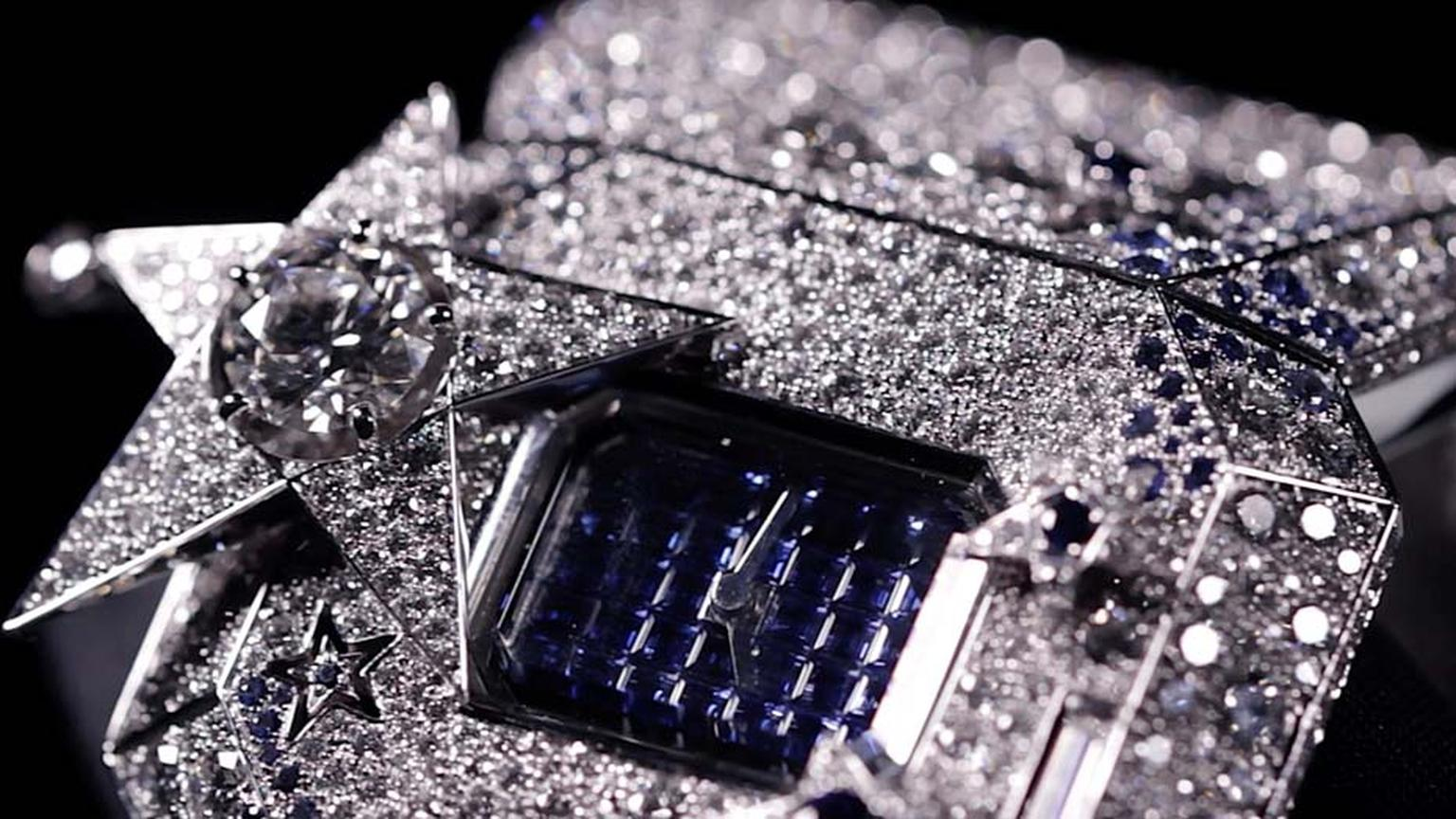 The star at the centre of Chanel's Comète Secret watch slides open to reveal a pavé sapphire dial.
