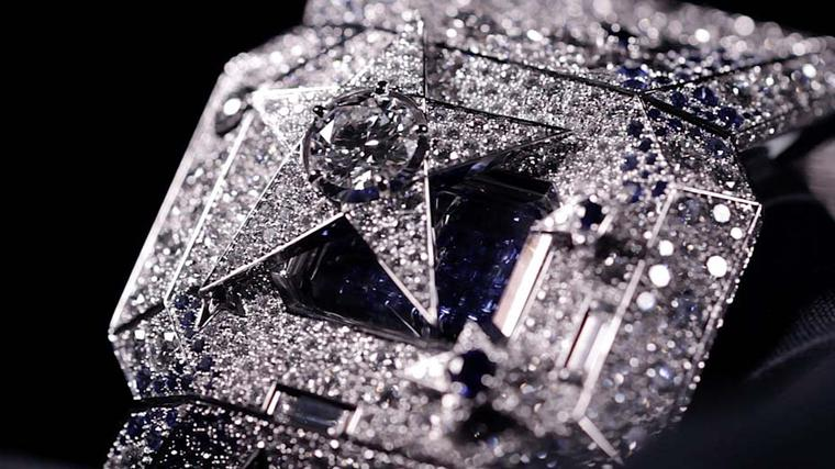 Chanel once again pays tribute to the comet motif with the Comète Secret watch, featuring a sparkling constellation of 2,319 diamonds and blue sapphires, and a 1.00ct brilliant-cut diamond at its centre.