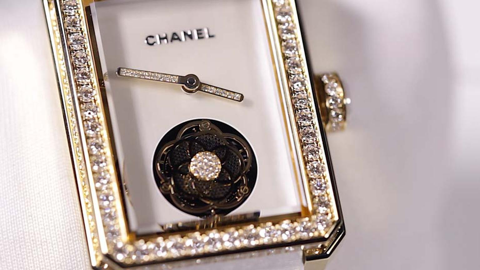 In Chanel's very own beige gold, the second Chanel Premiere Flying Tourbillon watch for 2015 is set with brilliant-cut diamonds. The flying tourbillon movement is decorated with a small camellia, Mademoiselle Chanel's favourite flower.