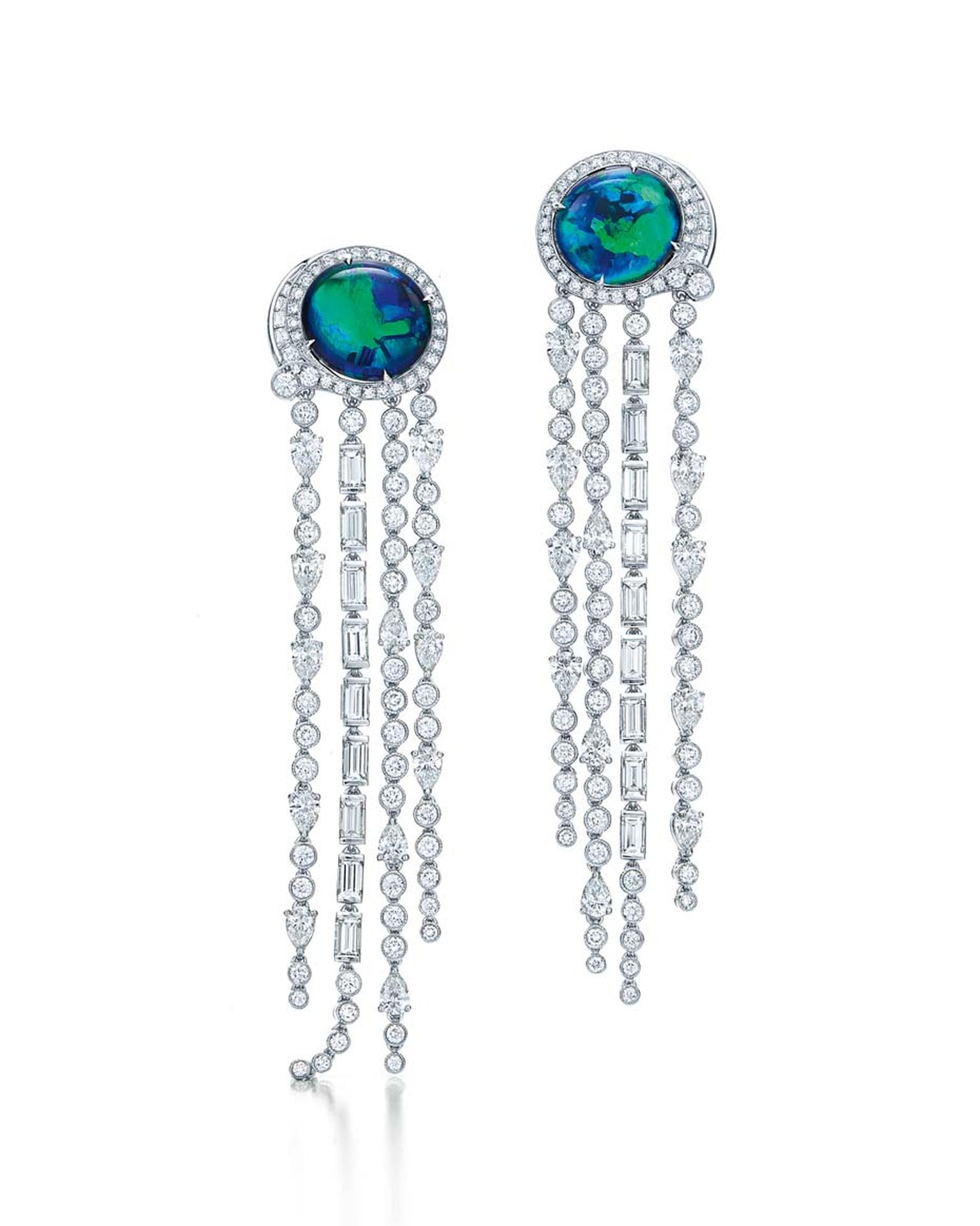 Tiffany earrings from the 2015 Blue Book collection set with 8.87ct black opals and mixed-cut diamonds in platinum.