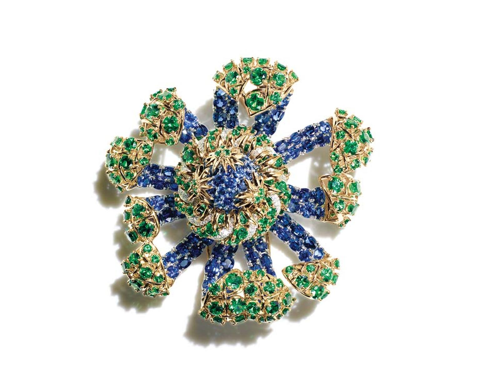 Jean Schlumberger for Tiffany sea anemone clip with sapphires, tsavorites and diamonds in gold and platinum, from the new Blue Book collection.