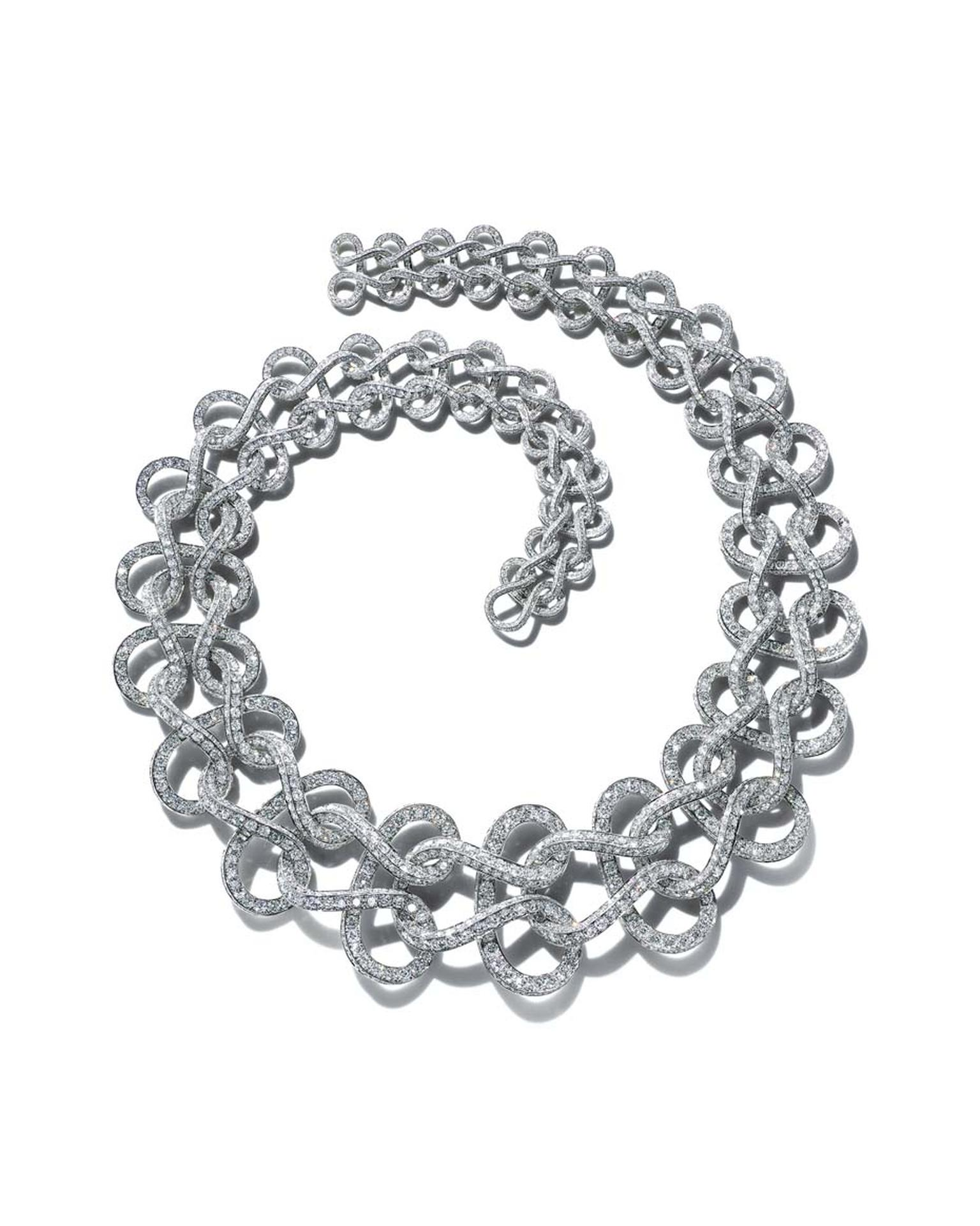 Tiffany necklace of diamonds and platinum in a wave pattern, inspired by an archival watch chain from the new 2015 Blue Book collection.