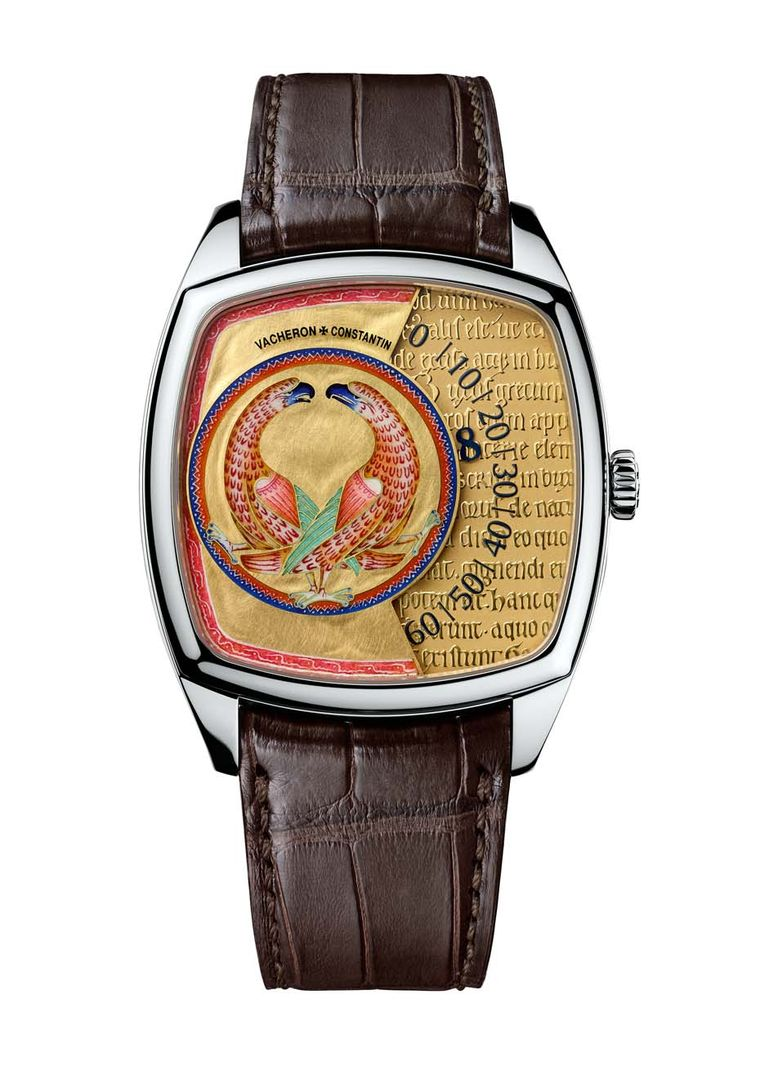The dials of the three men's watches are built on two different levels. The enamelled beast occupies the raised, left part of the dial, giving way to a lower gold dial, which has been engraved with fragments of the Latin text of the Aberdeen Bestiary, and