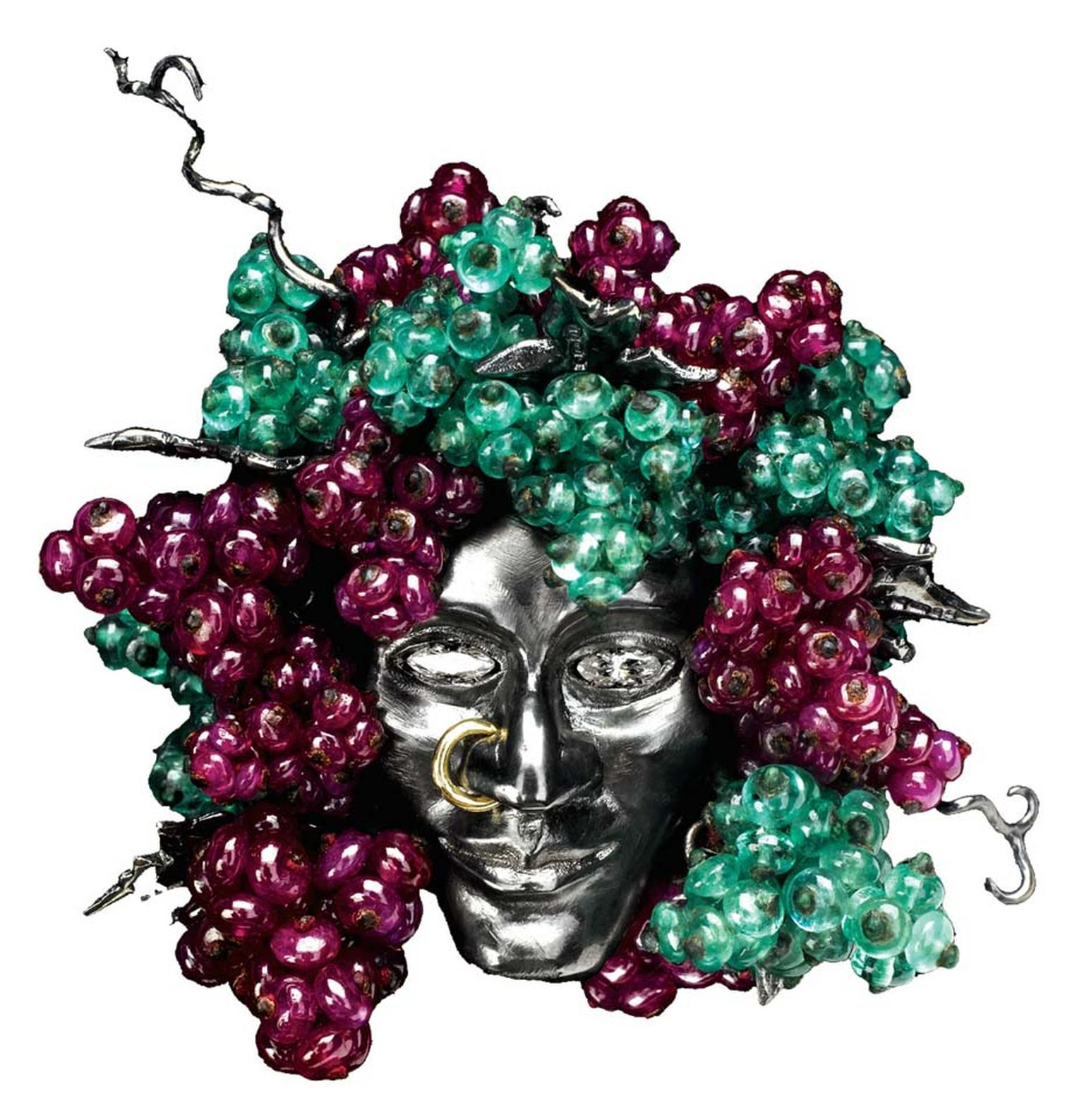Solange Azagury-Partidge's Bacchus is a stunning mix of diamonds and emeralds set in 18ct blackened white gold, and is on sale with Paddle 8 with an estimate of £5,000 to £7,000.