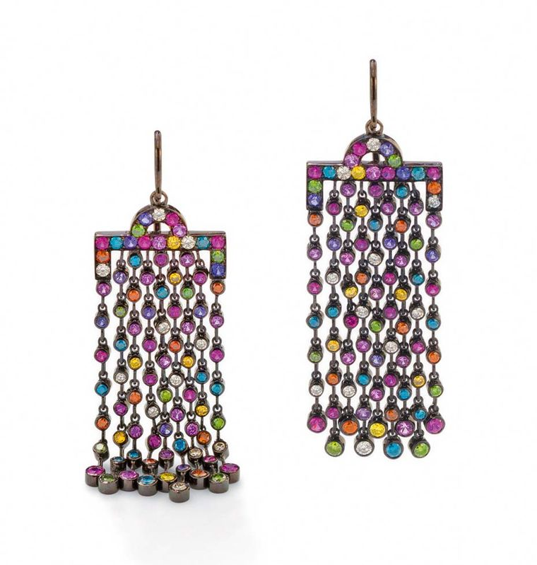 Solange Azagury-Partridge Chromatic chandelier earrings with fringes of candy-bright gems that drape down the neck - part of the Solange-curated Paddle8 auction, which runs from 5-19 May. Estimate: £12,000-£15,000. To bid now, follow the link in the artic
