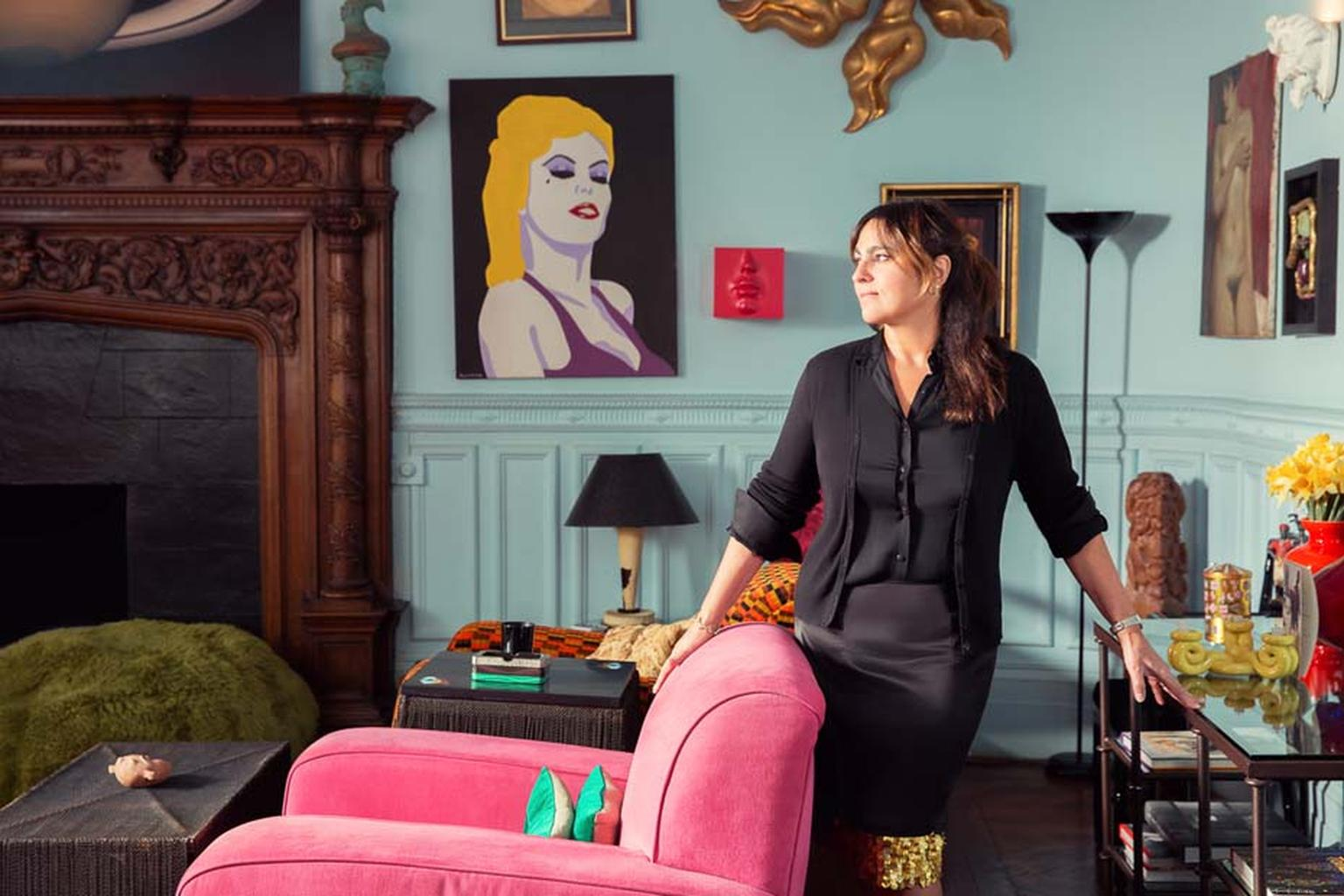 British designer Solange Azagury-Partridge, pictured at her impressive Mayfair townhouse. One of Britain's most exciting and original jewellers, she is curating an online auction of art, jewellery and design for Paddle8 from 5-19 May 2015.