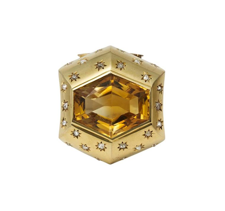 The citrine sets centre surrounded by diamonds in this beautiful Suzanne Belperron brooch with matching ring, available at Paddle 8.