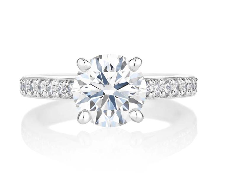 The latest design to join the collection of De Beers engagement rings, called Old Bond Street, is inspired by the classic lines of the jewellery house's very first diamond solitaire.