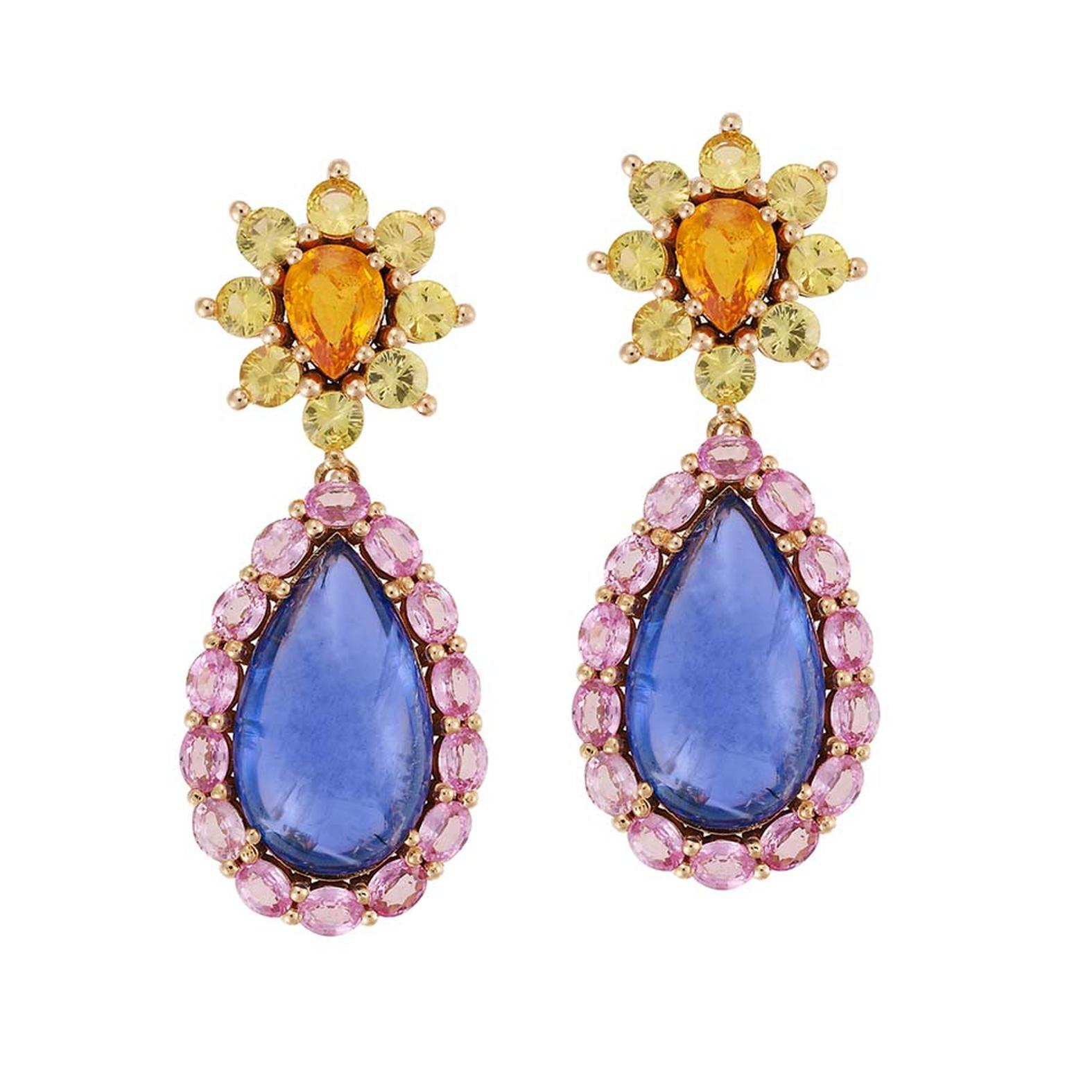 Beautiful bespoke Art Deco earrings with tanzanite and pink sapphires by Greek designer Ileana Makri.