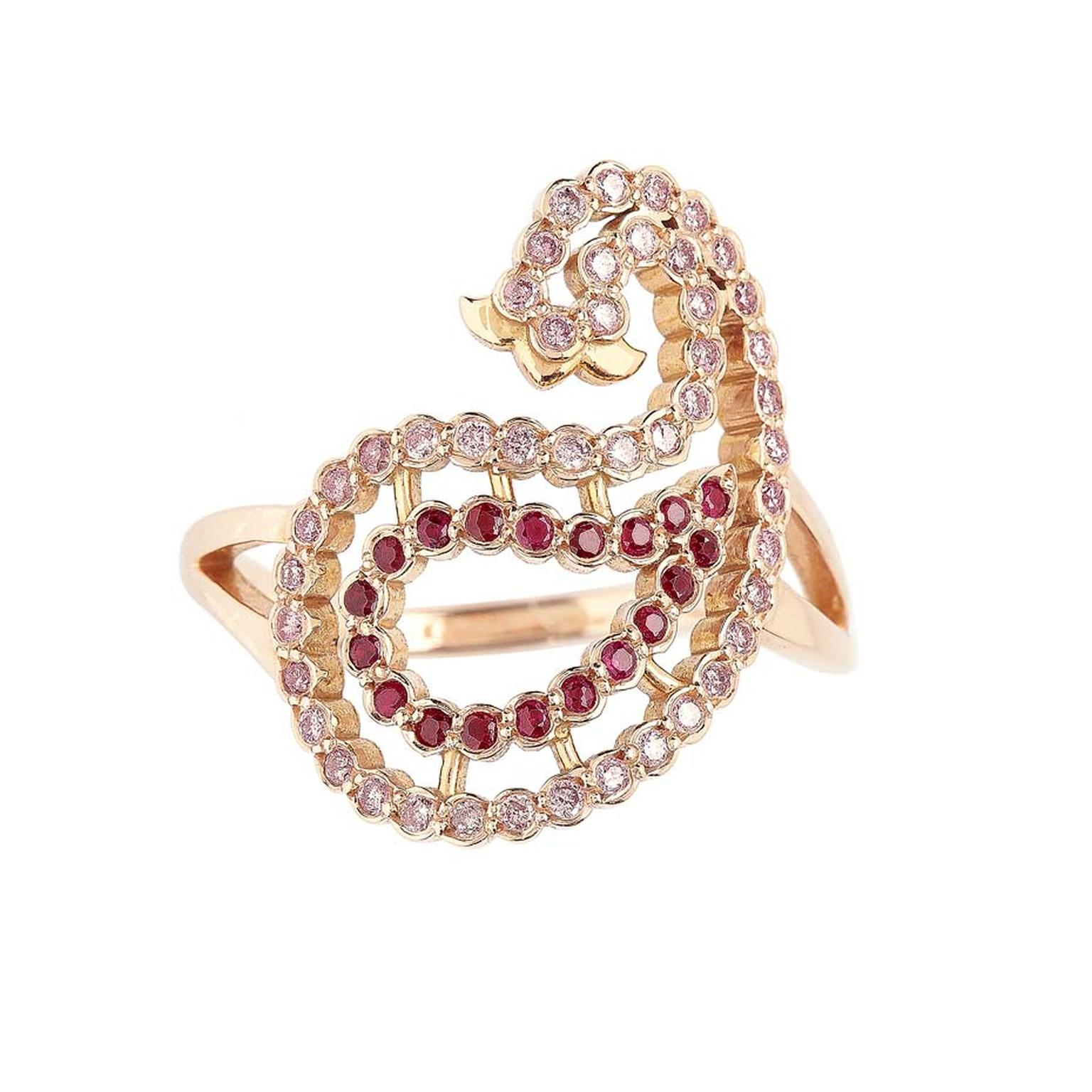Azar pink gold ring set with pink diamonds and rubies by Greek designer Lito.