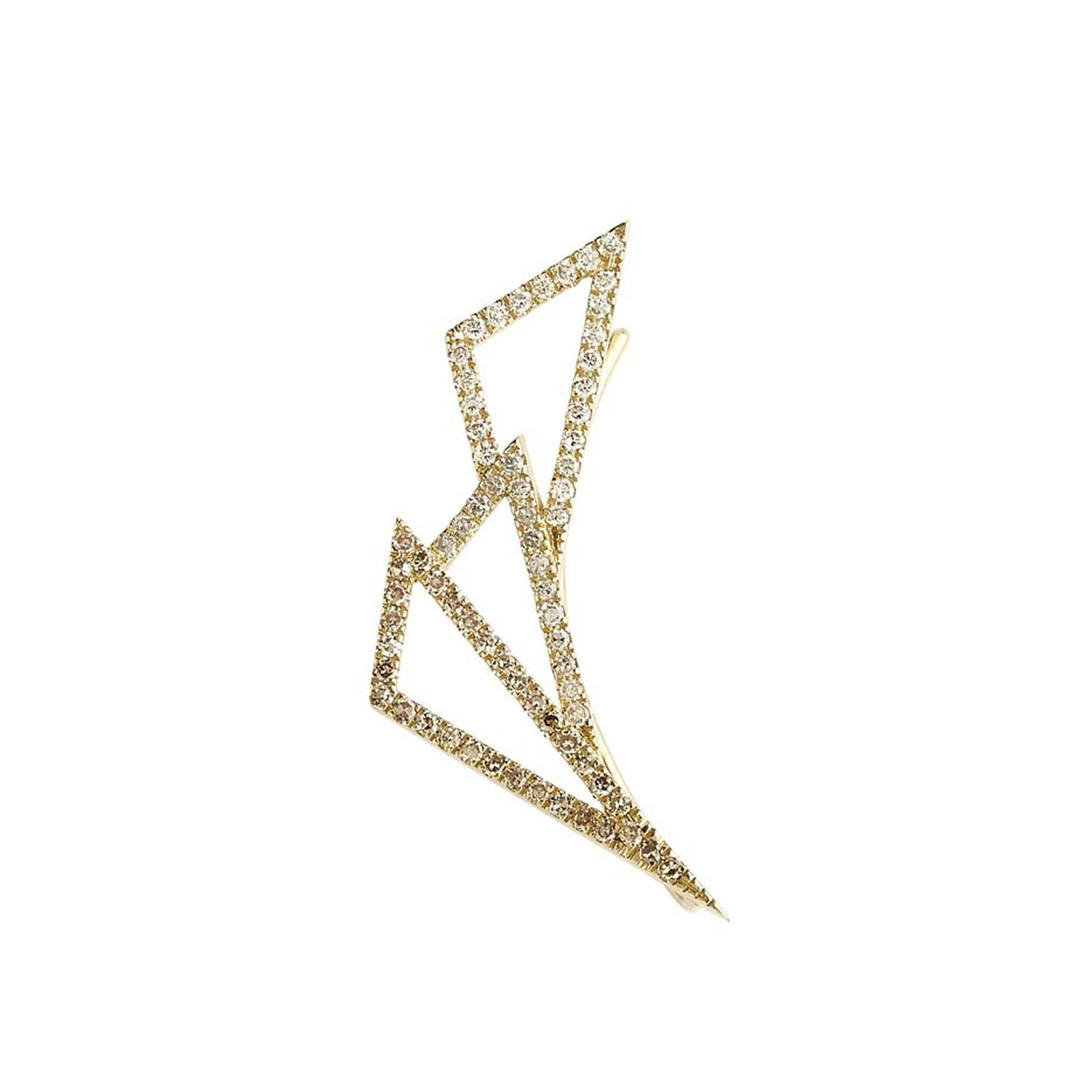 Lito Daisy single earring in yellow gold with white, grey and brown diamonds.