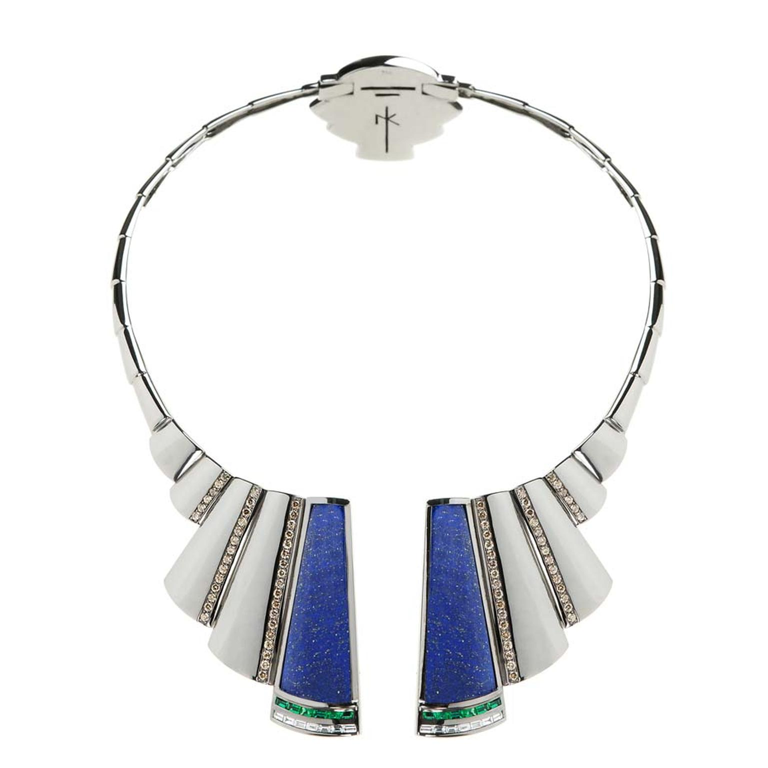 Nikos Koulis Universe necklace with lapis lazuli, brown diamonds and emerald baguettes.