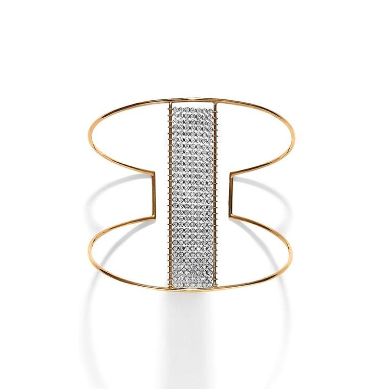 Yannis Sergakis Charnières cuff in rose and black gold with brilliant-cut diamonds.