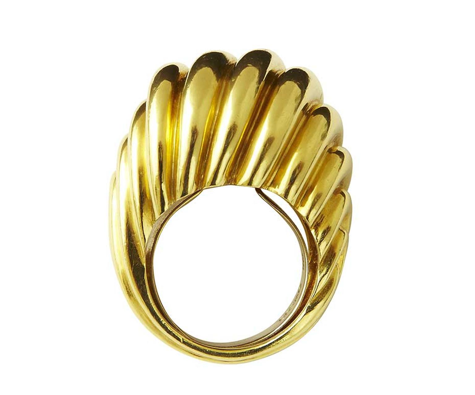 A classic David Webb gold cocktail ring, circa 1960 (estimate: £5,000-£7,000), which shows Webb's clear commitment to original design. To bid now, follow the link in the article.