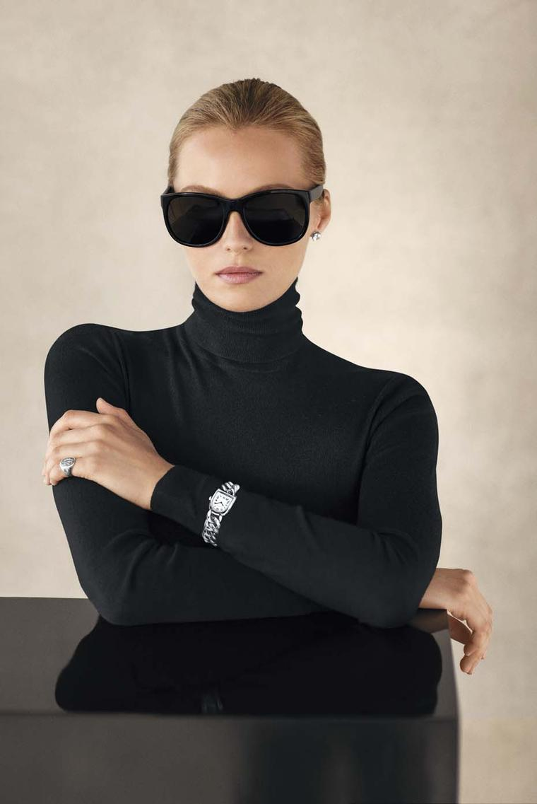 Model wearing Ralph Lauren Stirrup Petite-Link watch