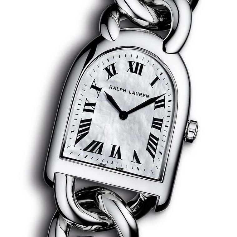 The Roman indices on the dial of the Ralph Lauren Stirrup Petite-Link watch add a touch of class to the iridescent mother-of-pearl dial. In keeping with the trend for smaller ladies' watches, this model measures just 23.30 x 27mm.