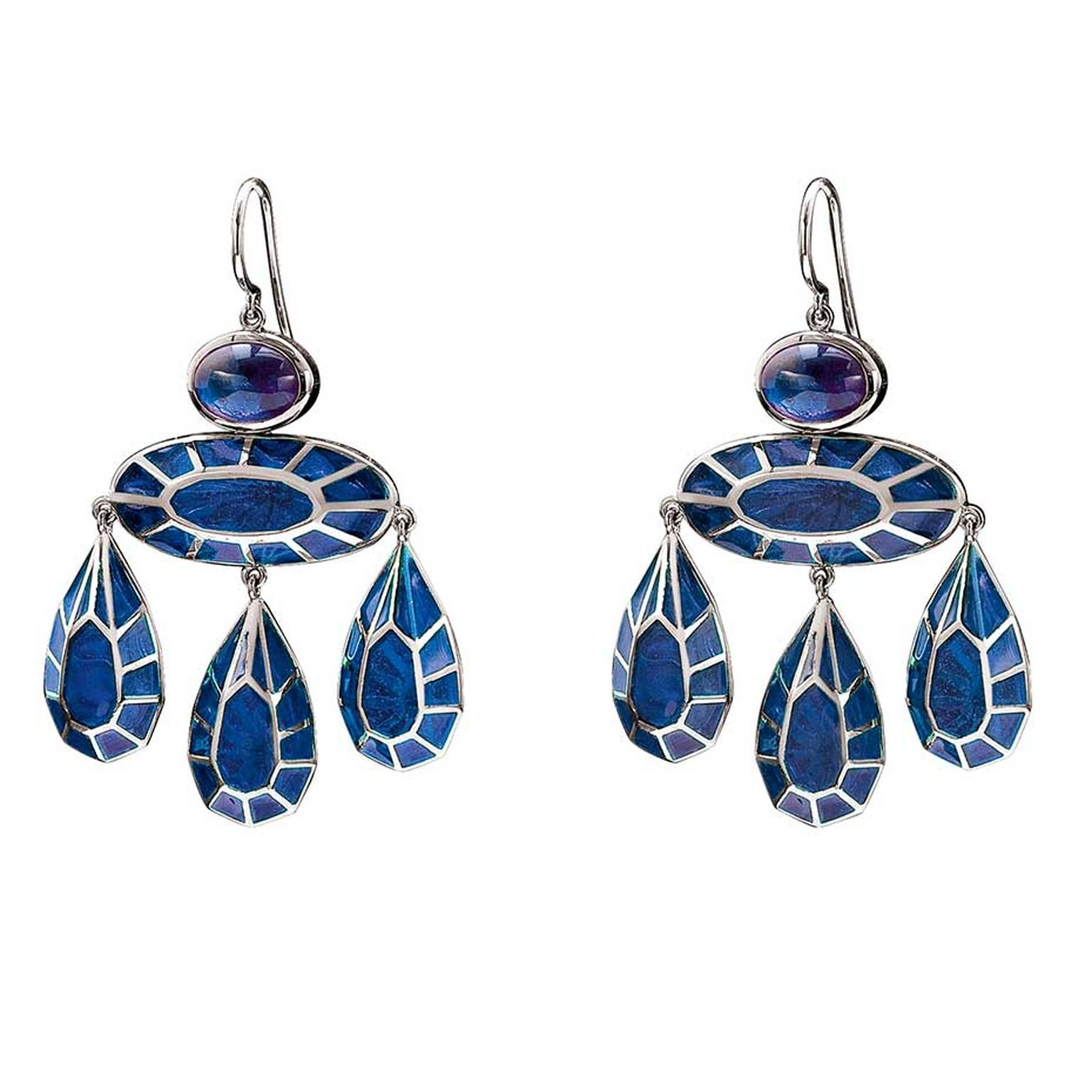 Solange Azagury-Partridge Georgian earrings set with approximately 2.00ct oval cabochon sapphire and filled with pliqué-a-jour enamel in black rhodium-plated white gold. Estimate: £6,000-£8,000. To bid now, follow the link in the article.