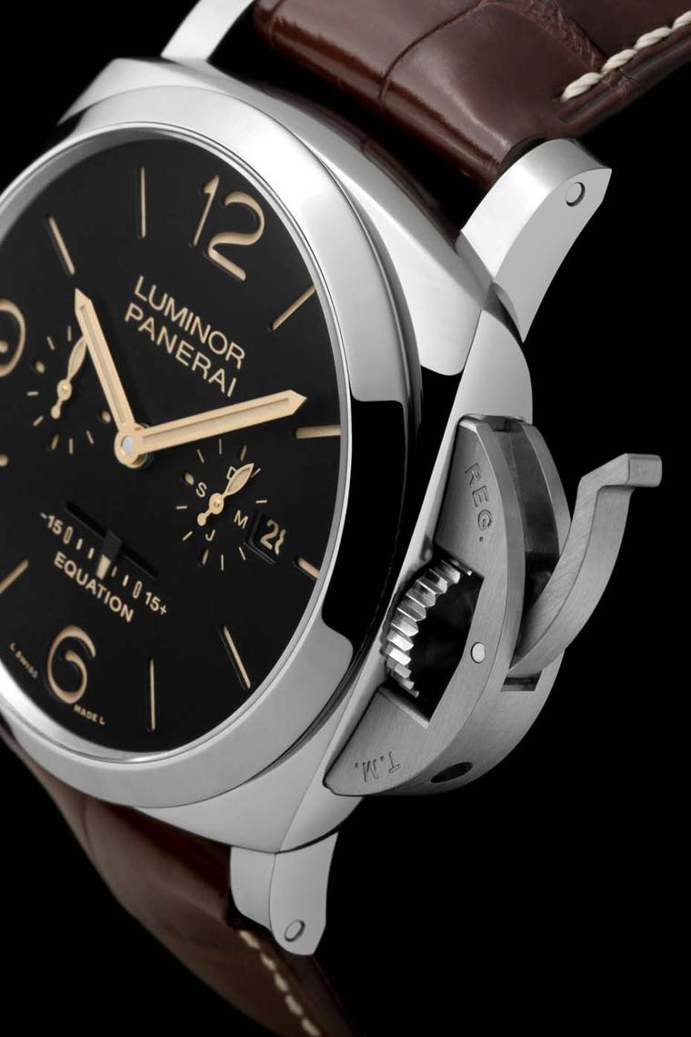 Panerai Luminor 1950 Equation of Time watch, with its distinctive bridge device to lock the crown, was produced a few years after the Radiomir. The brand's portfolio of watches is almost entirely built around these two models.