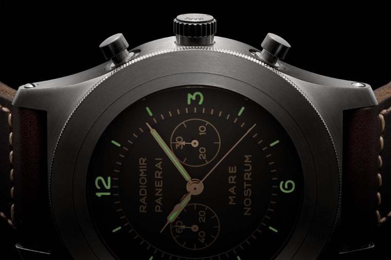 Panerai Mare Nostrum watch was re-edited this year. Unlike the original watch which was made from steel, this huge 53mm chronograph comes in a lightweight titanium case. The Mare Nostrum is a limited edition of 300 pieces.