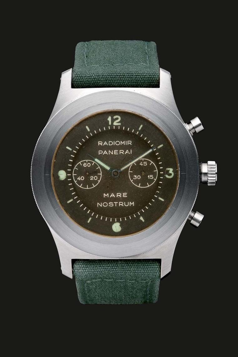 A reconstruction of the original Panerai Mare Nostrum 1943. Mussolini dreamed of reconquering the Mare Nostrum (Mediterrean) and the Raid on Alexandria in 1941, which crippled British battleships, almost turned the tide of the war. The Mare Nostrum chrono
