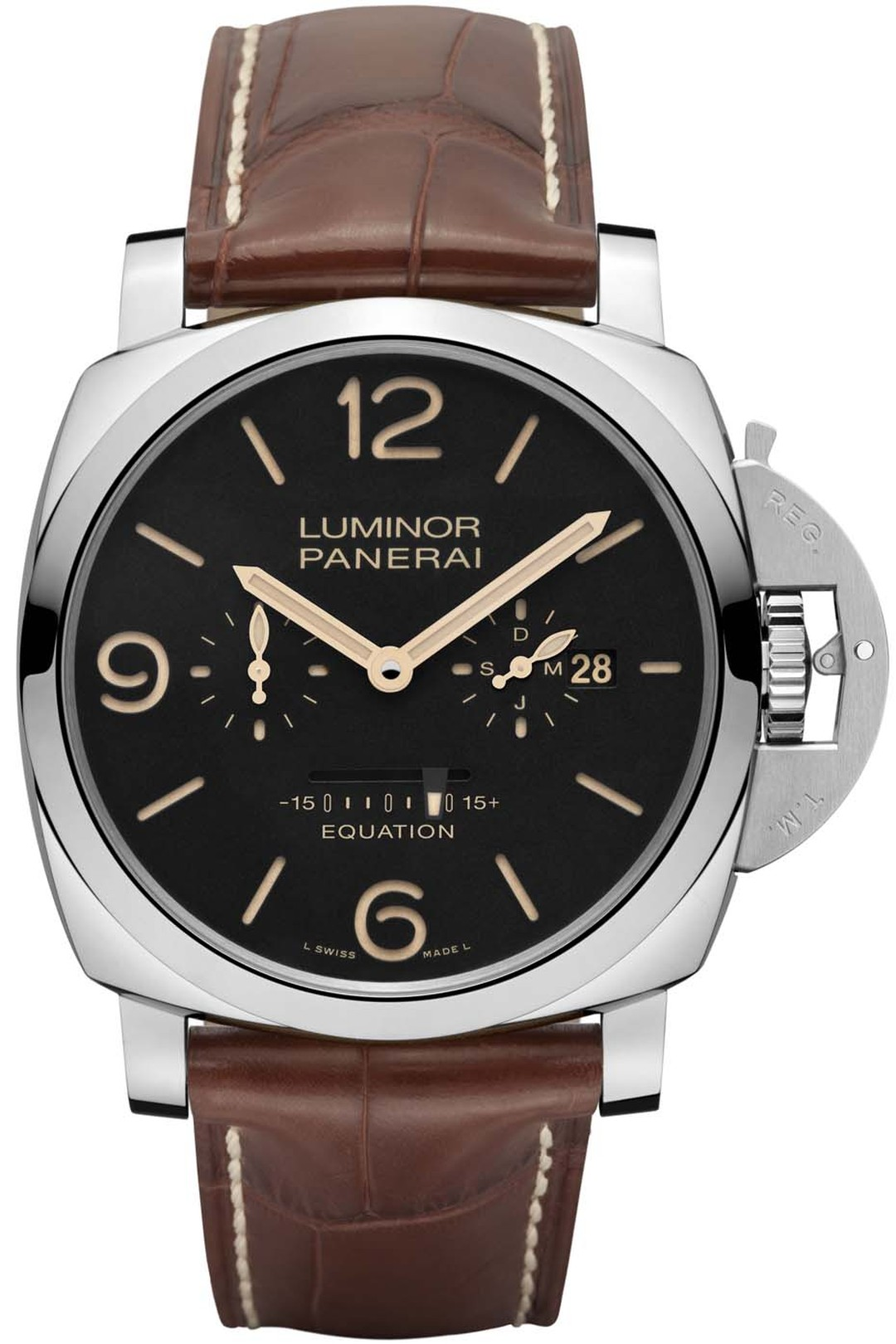 Panerai Luminor 1950 watch with equation of time indication was unveiled at the SIHH watch salon this year. An equation of time complication indicates the difference between solar time and conventional mean time. Panerai has opted for a linear indicator o