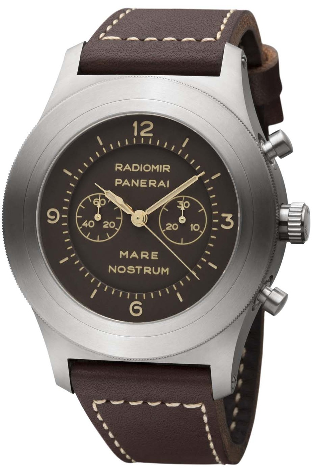 Panerai Mare Nostrum bi-compax chronograph is activated with the piston-shaped pushers on the side of the brushed titanium case, which is water-resistant to depths of up to 300 metres.